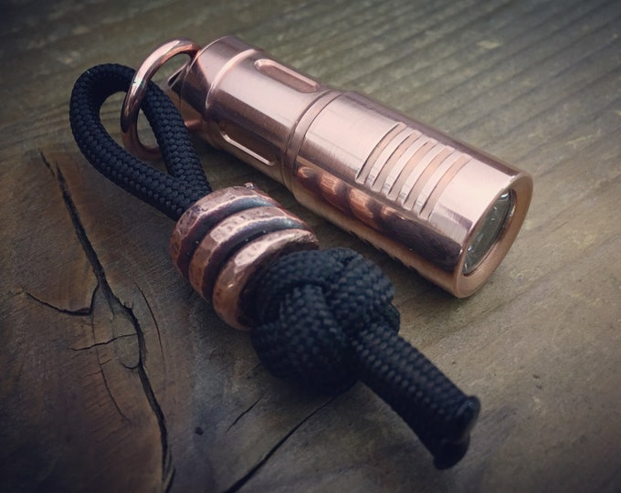 Copper USB Flashlight / Keyring / Aged Texture