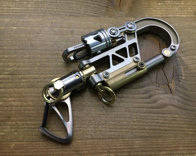 Titanium Bolt Carabiner Keychain  / Swivel Bi-Clip / Brown