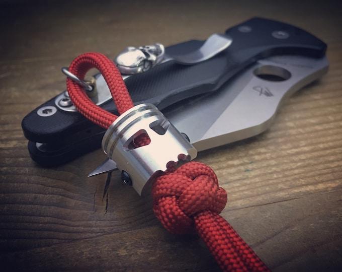 Edc Knife lanyard bead / Skull Piston Bob
