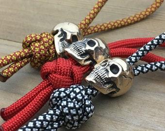 Knife Landyard Bead / Human Skull / Brass