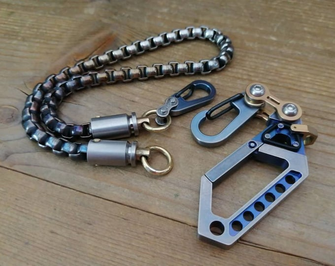 Small Walletchain with Drone Carabiner bike-link Clip / Old School