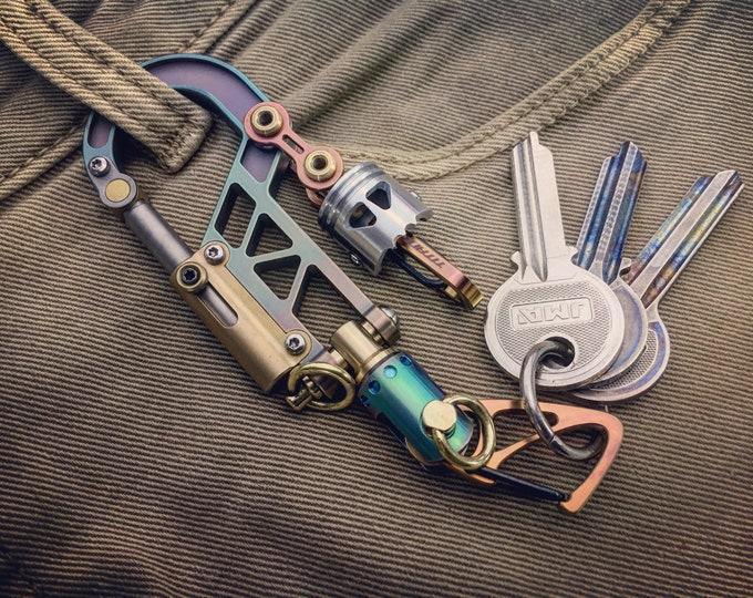 Titanium Bolt Carabiner Keychain  / Swivel Bi-Clip