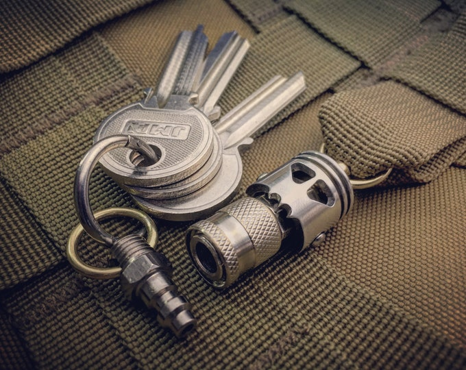 Quick release connector Key chain with  Skull Piston Bob / 3-Options