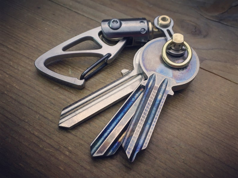 Titanium Biker  Keychain  with  Swivel   Natural Polished aged