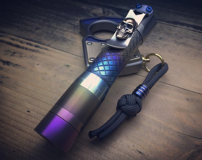 Titanium Flashlight / PS-14-Ti Rechargeable Micro USB 6500K by Mec-Army / Aged polished and rainbow anodized