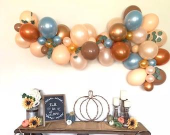 Little Pumpkin Balloon Garland | Rustic Pumpkin Baby Shower Decor | Slate and Rust Balloon Garland | Fall Bridal Shower | Blue Pumpkin Baby
