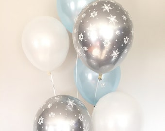 Baby It's Cold Outside Baby Shower Decor   Winter Baby Shower   Blue Balloons   Snowflake Balloons   It's A Boy Balloon