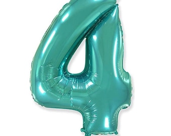 Teal Number 4 Balloon   Teal Fourth Birthday Balloons   Mylar Number Balloons   Large Foil Balloons   Teal Four Balloons