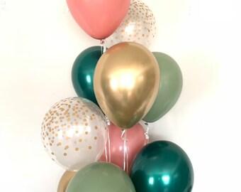 Green and Rose Balloons   Light Green Wedding Decor   Green and Blush Balloons   Eucalyptus Balloons   Dark Sage Green Bridal Shower Decor