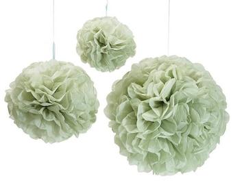 Sage Green Pom Poms   Light Green Wedding Decor   Sage Pom Poms   Sage Tissue Paper Pom  Sage Green Bridal Shower Decor   Sage Wall Decor