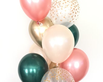 Rose Gold and Green Balloon Bouquet   Rose Gold Balloons   Peach & Green Balloon Bouquet   Bridal Shower Balloons   Rose Gold Bridal Shower