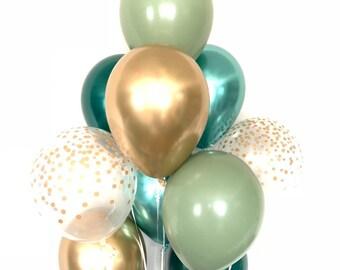 Sage and Eucalyptus Balloons   Light Green Wedding Decor   Green and Gold Balloons   Eucalyptus Balloons   Dark Sage Green Bridal Shower