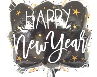 Happy New Year Balloons   New Year's Eve Party Decor   New Year's Eve Balloons   Happy 2019   Holiday Party Decor   Black and Gold Balloons