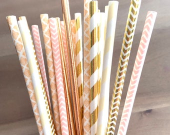 Rose Gold Straws   Rose Gold and Blush Party Decor   Rose Gold Bridal Shower Decor   Rose Gold Baby Shower Decor   Rose Gold Paper Straws