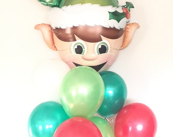 Elf Balloons   Christmas Party Decor   Kids Christmas Decor   December Birthday Balloons   Red and Green Balloons