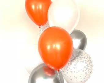 Orange and White Balloons   Orange and Silver Balloons   Little Pumpkin Balloons   Little Pumpkin Baby Shower Decor   Modern Birthday Balloo
