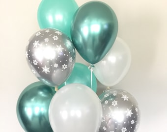 Baby It's Cold Outside Baby Shower Decor   Winter Baby Shower   Snowflake Balloons   Mint Winter ONEderland Birthday Balloons