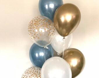 Slate Blue Balloons   Slate Blue Wedding Decor   Slate Blue and White Balloons   Chrome Gold Balloons   Slate Blue Bridal Shower Decor