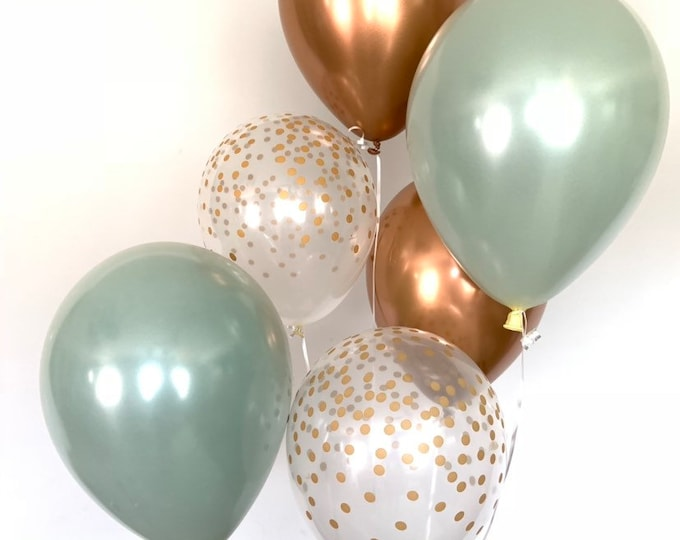 Sage Green Balloons   Succulent Bridal Shower Decor   Copper and Sage Balloons   Succulent Baby Shower Decor   Cactus Party Decor   Sage and