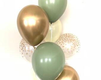 Green and Ivory Balloons   Light Green Wedding Decor   Green and Gold Balloons   Eucalyptus Balloons   Dark Sage Green Bridal Shower Decor