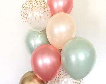 Sage Green Balloons   Light Green Wedding Decor   Green and Gold Balloons   Chrome Gold Balloons  Sage Green Bridal Shower Decor