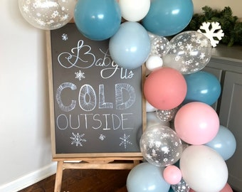Pink and Blue Snowflake Balloon Garland   Baby it's Cold Outside Bridal Shower Decor   Gender Reveal Balloon Garland