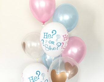 Pink and Blue Balloons   Gender Reveal Balloons   Gender Reveal Baby Shower Balloons   Baby Shower Decor   He or She?   What Will It Be?