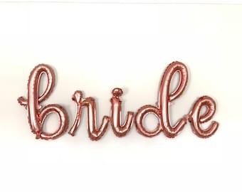 Bride Balloons   Rose Gold Bridal Shower Decor   Bride Sign   Rose Gold Bride Script Balloons   Rose Gold Script Balloons