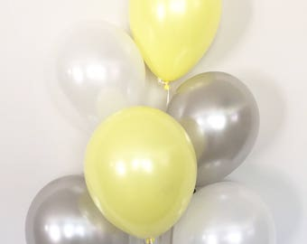 Yellow and Gray Balloon Bouquet   Gray and Yellow Balloons   Yellow Balloons   Yellow and Gray Baby Shower Decor   Gender Neutral Balloons