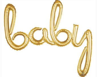 Oh Baby Balloon   Gold Baby Shower Decor   Gold Baby Script Balloon   Gold Baby Shower Balloons   Gender Reveal Baby Shower Decor