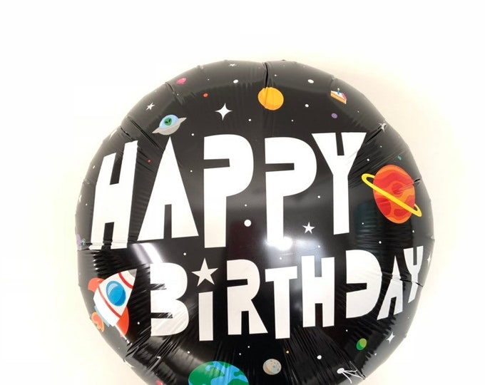 Galaxy Happy Birthday Balloons   Outerspace Birthday Party Decor   Astronaut Birthday   Black and White Balloons   Astronaut Balloons