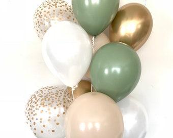 Green and White Balloons   Light Green Wedding Decor   Green and Gold Balloons   Eucalyptus Balloons   Dark Sage Green Bridal Shower Decor