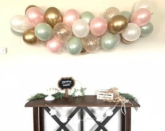 Sage Green and Pink Blush Balloon Garland DIY Kit   Sage Green and Blush Bridal Shower Decor   Green Baby Shower   Blush Wedding Garland
