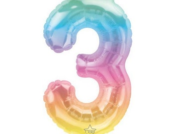 "3rd Birthday Balloons   3rd Birthday Party Decor   3rd Birthday Banner   Rainbow Birthday Party Photo Props   16"" Jelli Number Balloons"