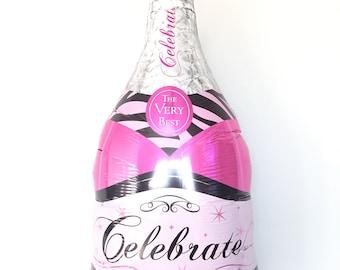 Hot Pink Champagne Bottle Balloons   Bachelorette Party Decor   Hot Pink and Black Bachelorette Balloons   21st Birthday Balloons     Pop