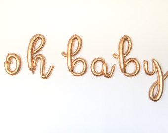 Oh Baby Balloons   Gold Baby Shower Decor   Gold Oh Baby Sign   Gold Oh Baby Script Balloons   Script Balloon Letters