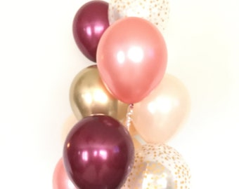 Blush and Burgundy Balloons   Rose Gold Balloon Bouquet   Rose Gold and Burgundy Balloon Bouquet   Blush Balloons   Blush Bridal Shower Deco