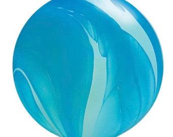 """Jumbo Blue Balloons   3' Blue Agate Balloon   Large Agate Balloons   30"""" Marbled Balloons   Outerspace Birthday"""