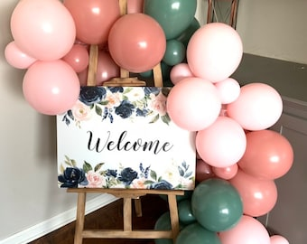 Rosewood and Willow Balloon Garland   Blush Bridal Shower Decor   Green Baby Shower   Welcome Sign Garland