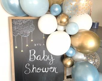 Slate Blue and Fog Balloon Garland Kit   Dusty Blue Bridal Shower Decor   Slate Blue Baby Shower   Something Blue Bridal