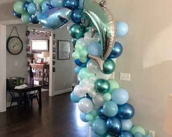 Shark Balloon Garland   Shark Birthday Party   Shark Bait Birthday   Fintastic Balloon Arch   Shark Balloons