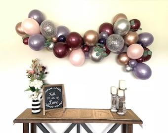 Blush and Amethyst Balloon Garland   Rustic Pink Pumpkin Baby Shower Decor   Plum and Blush Balloon Garland   Fall Bridal Shower   Silver