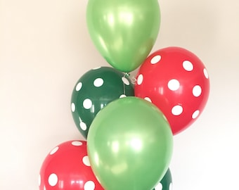 Christmas Balloons   Kids Christmas Party Decor   Red and Green Polka Dot Balloons    Baby It's Cold Outside   Winter ONEderland