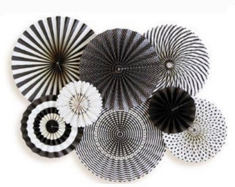 Black and White Paper Fans Wall Decor   Black and White Rosettes    Wall Hanging Decor   Kate Spade Bridal Shower Decor   Party Backdrops