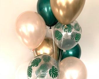 Tropical Balloons   Green Bridal Shower Decor   Green and Gold Balloons   Lets Flamingle Party Decor   Tropical Baby Shower Decor