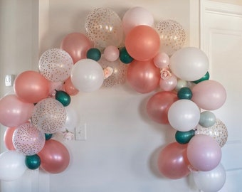 Rose Gold Balloon Garland DIY Kit   Lets Partea Balloon Garland   Rose Gold and Sage Bridal Shower Decor   Tea Party Bridal Shower Balloons