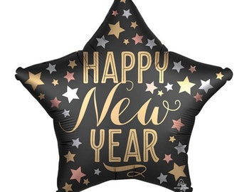 Happy New Year Balloons   New Year's Eve Party Decor   New Year's Eve Balloons   Happy 2021   Holiday Party Decor   Black and Gold Balloons