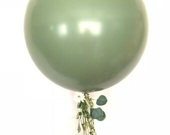 "Jumbo Sage Green Balloons   24"" Light Green Balloon   Large Green Balloons   Dark Sage Green Bridal Shower Decor   Eucalyptus Wedding Decor"