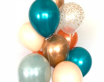 Sage Green Balloons | Fall Bridal Shower Decor | Teal and Orange Balloons | NEW Chrome Copper Balloons | Little Pumpkin First Birthday