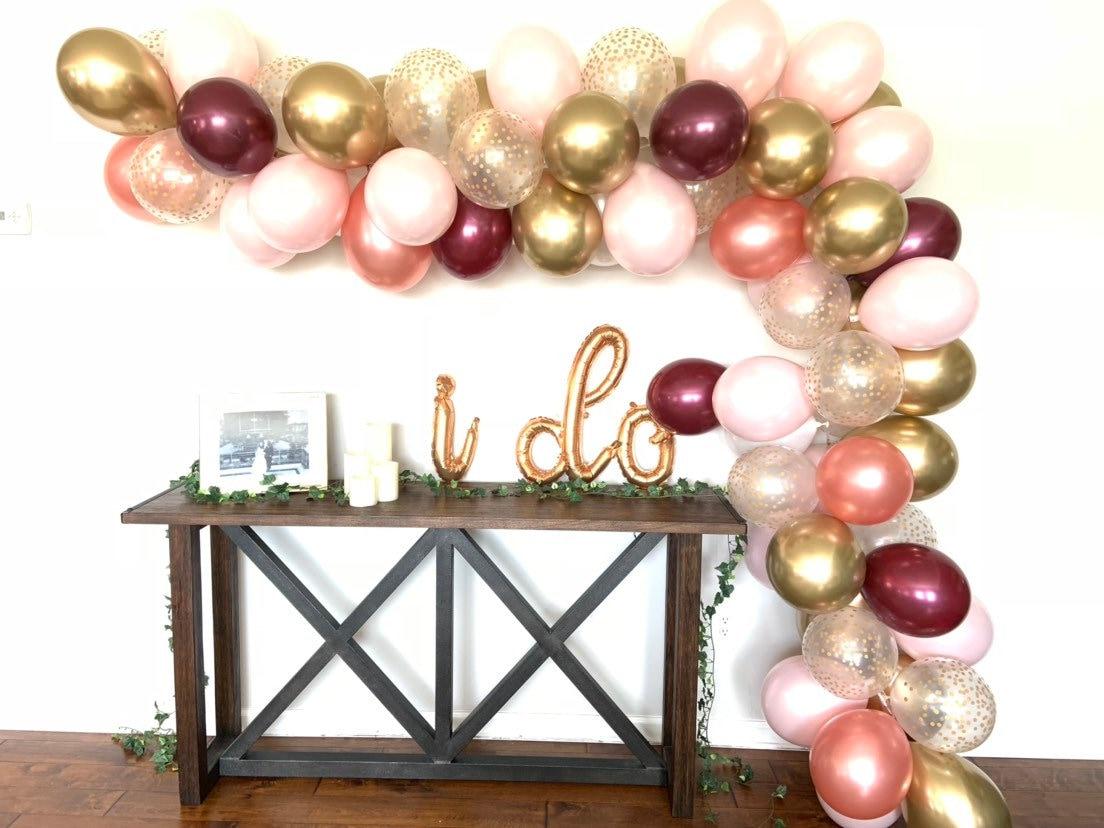 Pink Blush And Burgundy Balloon Garland Diy Kit Blush And Burgundy Bridal Shower Decor Blush Baby Shower Decor 12 Foot Balloon Garland